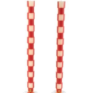 MacKenzie-Childs red & ivory check candles